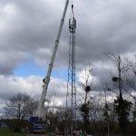 Aménagements TSPS pour le levage d'un pylône